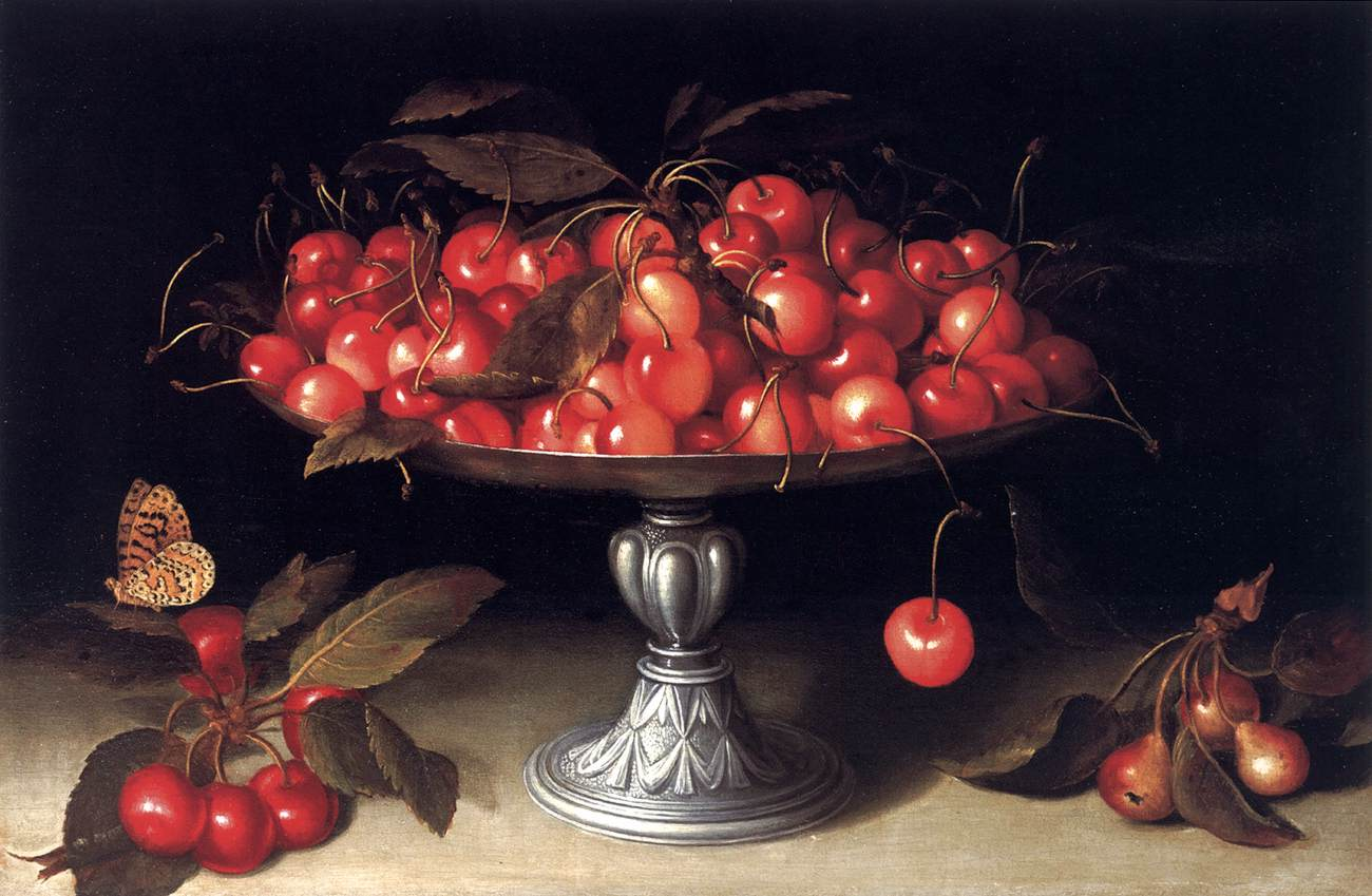 Fede Galizia - Cherries in a Silver Compote with Crabapples on a Stone Ledge and a Fritillary Butterfly, 1610.