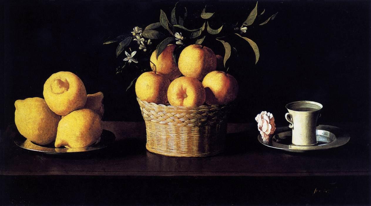Francisco de Zurbarán - Still Life with Lemons, Oranges and a Rose, 1633
