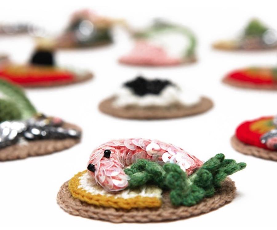 Kate Jenkins - lambswool prawn canape detail IG -  kjcardigan  web -  www.cardigan.ltd.uk