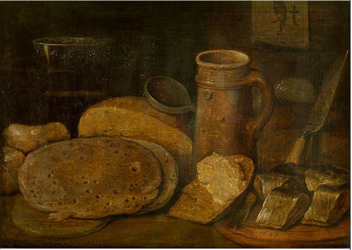 Hieronymus Francken the Younger  or  Hieronymus II -  Still life with pottery, herring and pancakes, a print of an owl on the wall, 1604