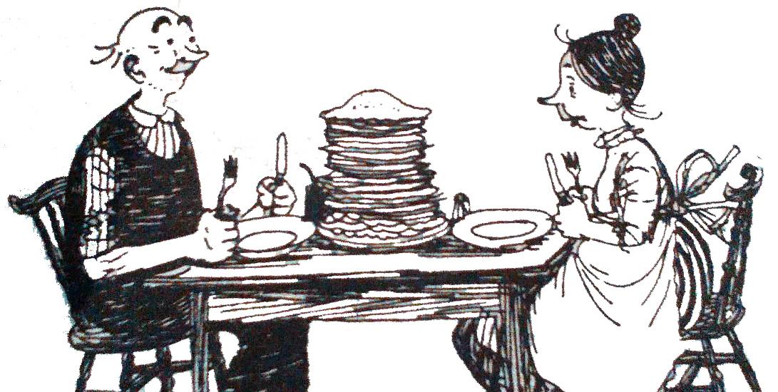 Mrs Pepperpot and Mr Pepperpot enjoy pancakes