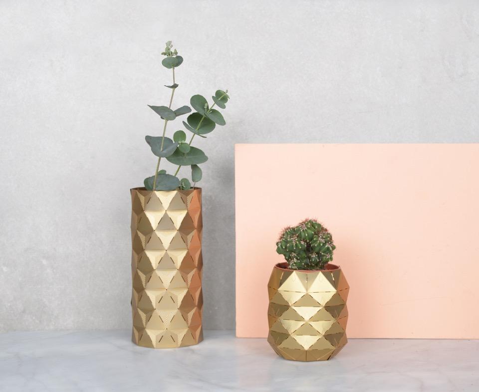 Brass Geometric Convert Vase by Another Studio