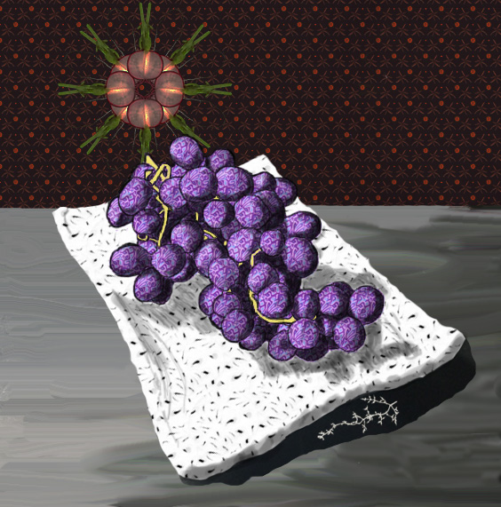 Still Life with Grapes mixed media painting by Smy Goodness - Emmerline Smy c. 2016