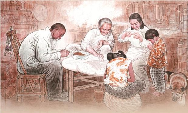 All hands on decks - dumpling making is a family affair
