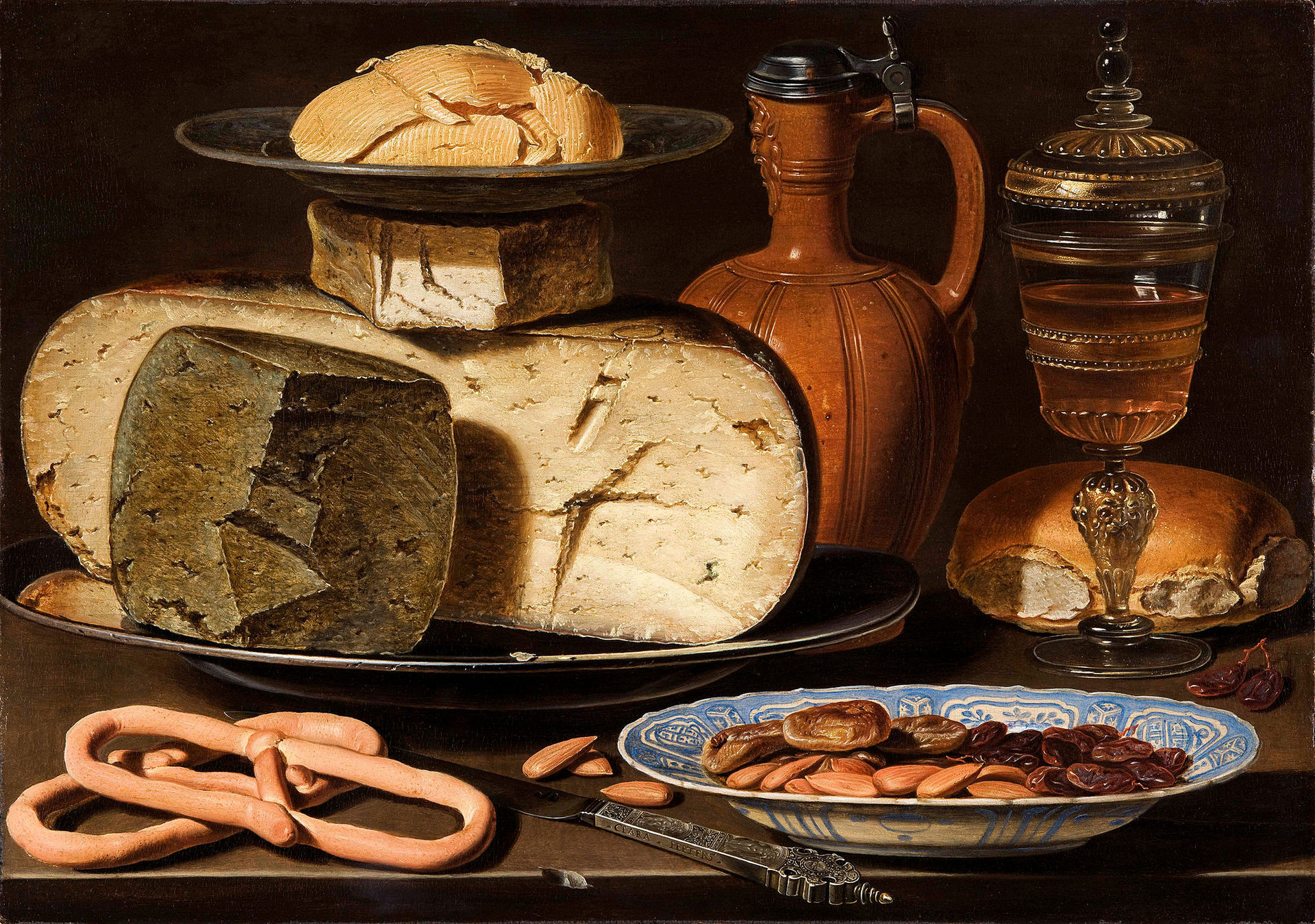 Clara Peeters, (1589-1657) Still Life with Cheeses, Almonds and Pretzels, c. 1615