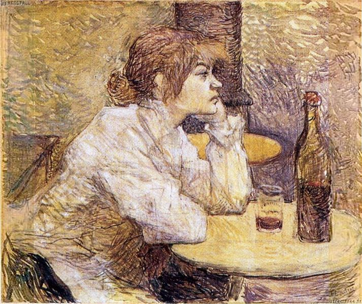 Henri de Toulouse Lautrec - The Hangover; by c. 1888, Portrait shows Suzanne Valadon