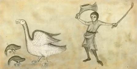 Medieval illustration of goose driving