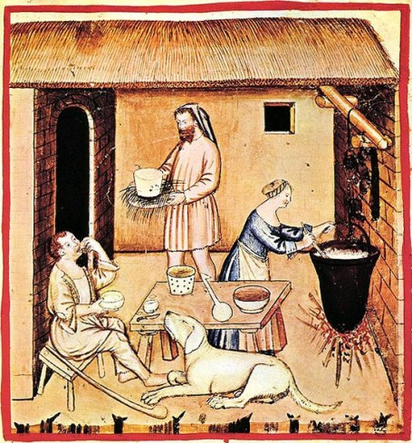 Medieval illustration of cheese makers