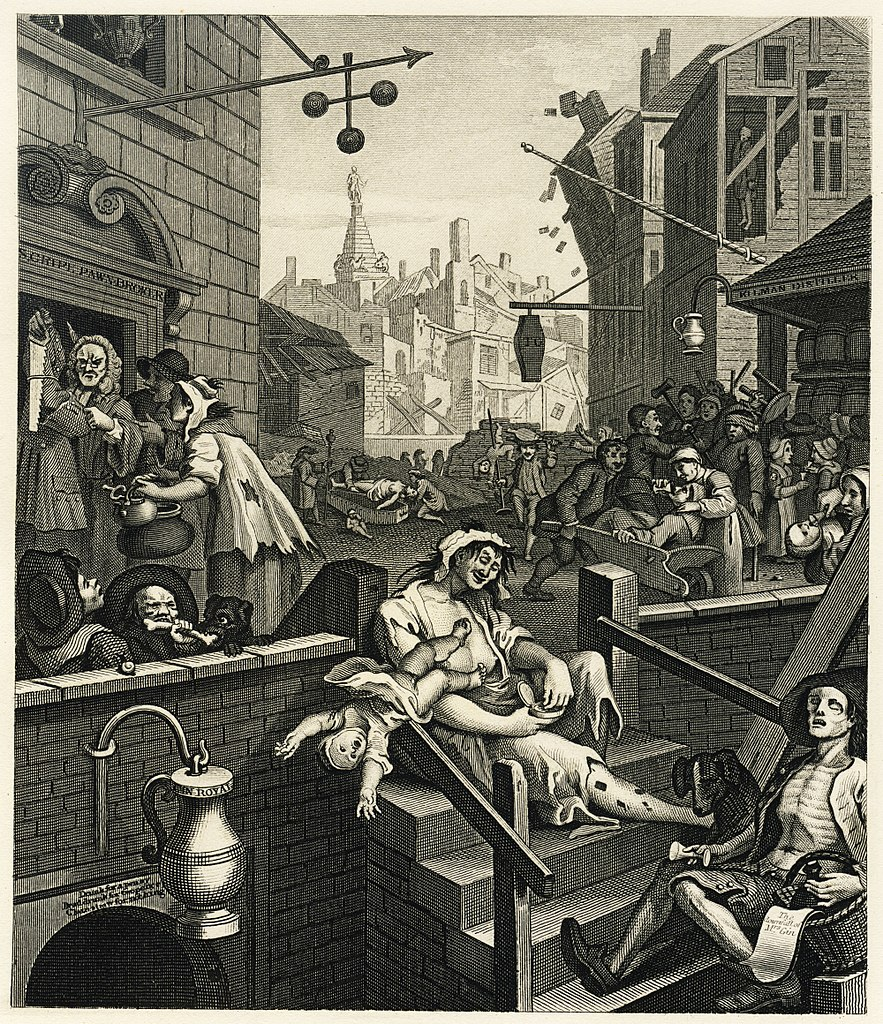 William Hogarth's Gin Lane, 1751 engraving