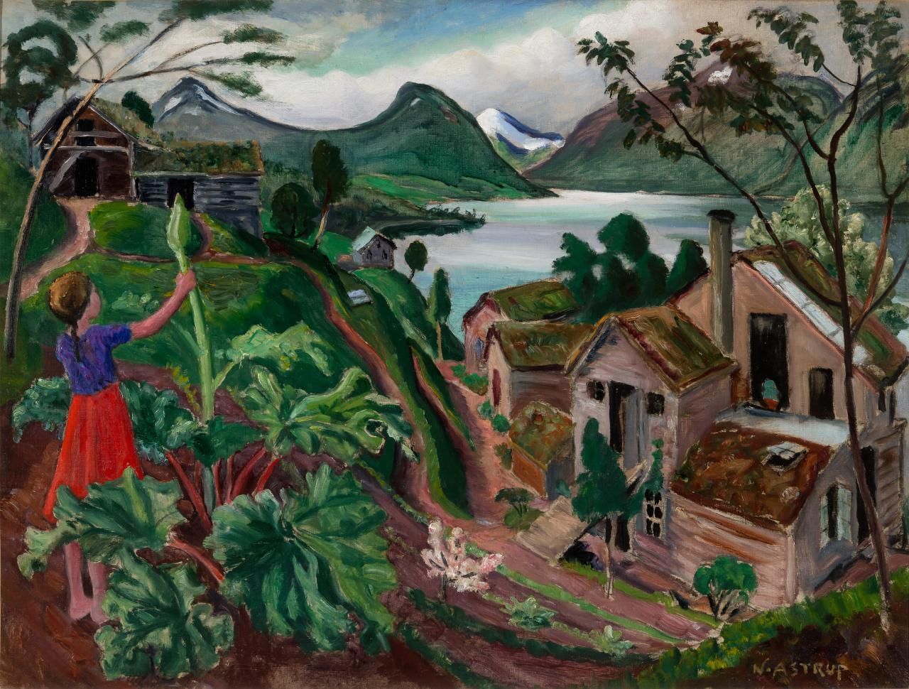 Nikolai Astrup, Rhubarb and Little Girl at Sandalstrand, C 1927