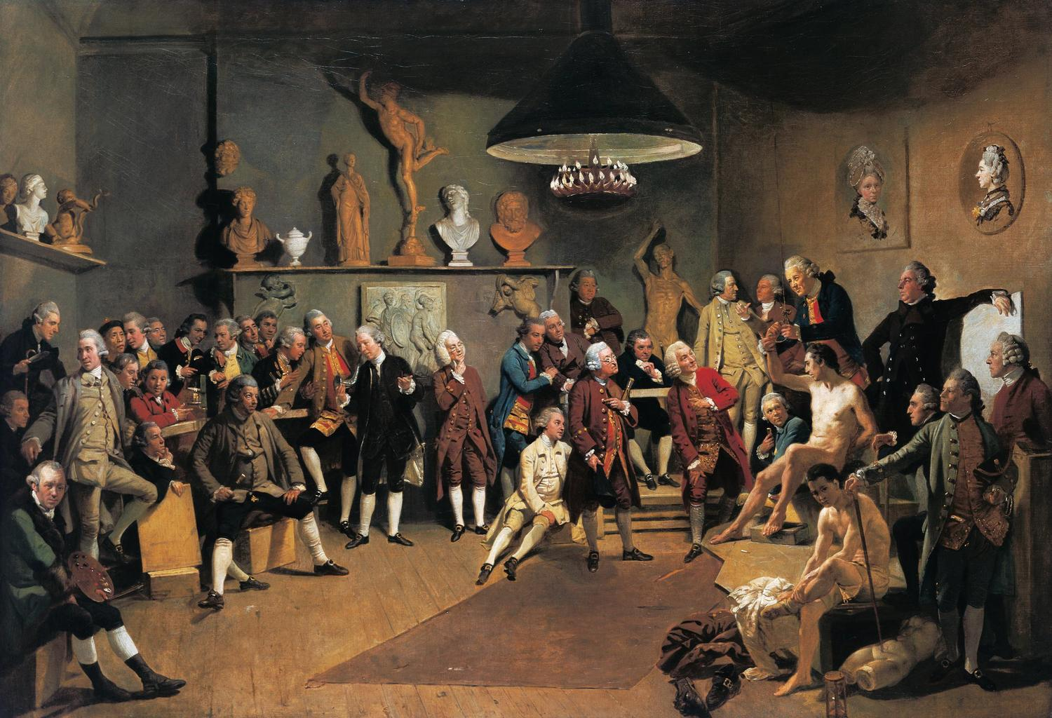 Johann Zoffany, The Academicians of the Royal Academy, 1771-2, oil on canvas, from the Royal Collection, London