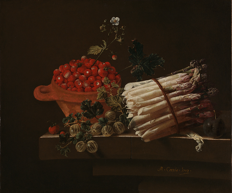 Still Life with Asparagus, a Spray of Gooseberries,  A Bowl of Strawberries and Other Fruit in Niche, 1703 Dutch artist Adriaen Coorte (ca. 1665 – after 1707)