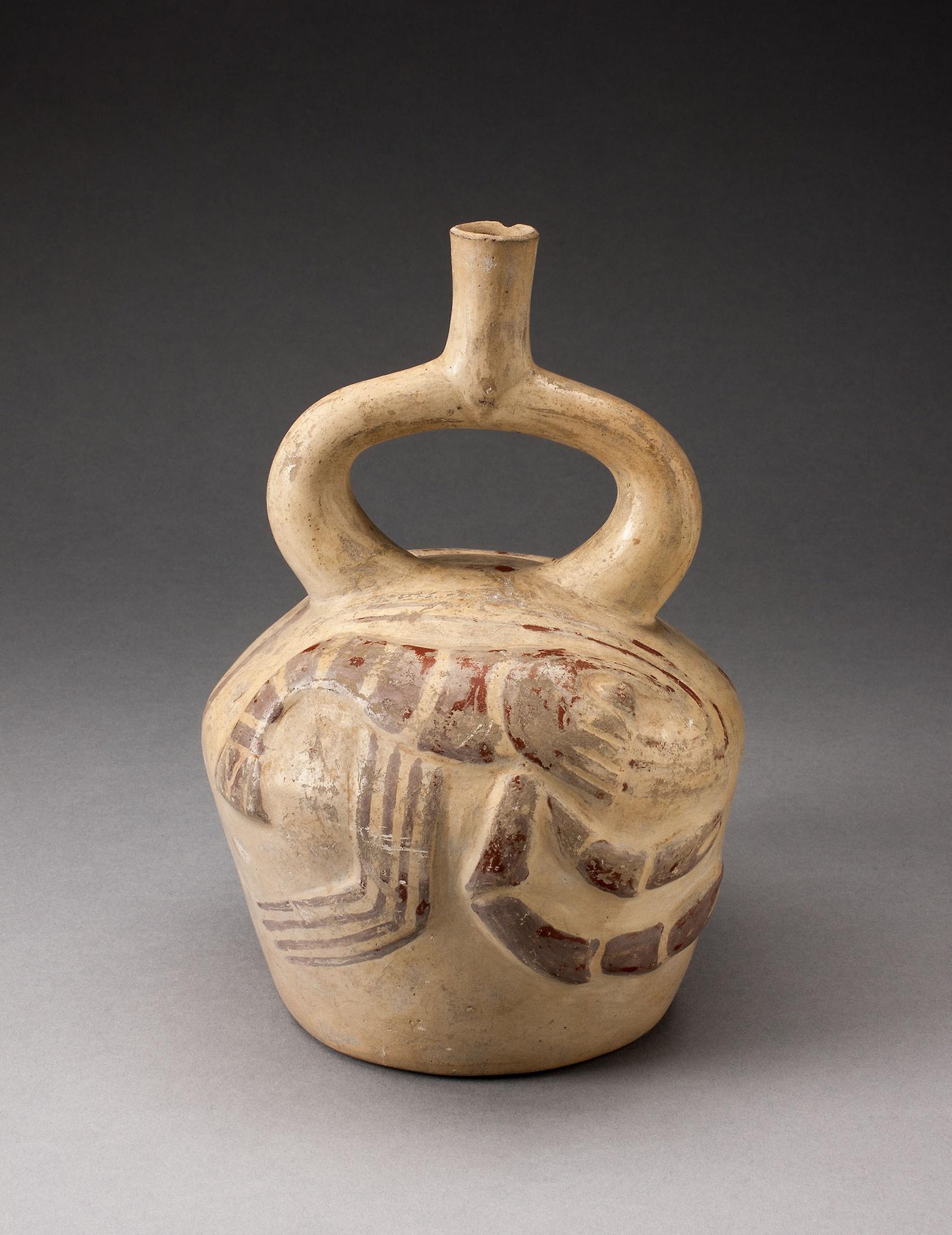 Moche Civilisation - Stirrup Spout Vessel with Raised Lobster Motifs Date- 100 B.C. A.D. 500   (image: Art Institute of Chicago)