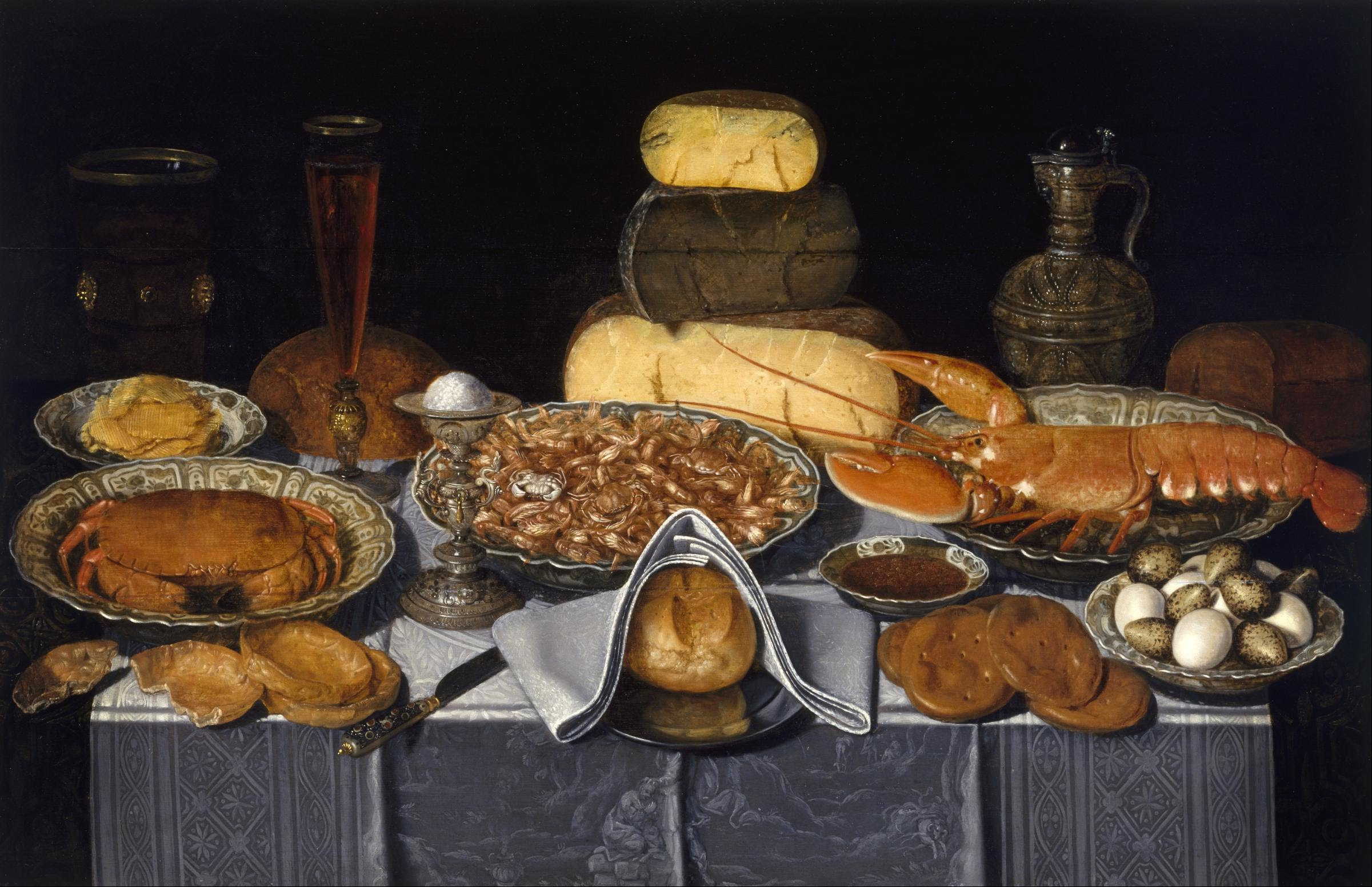 Clara Peeters, Still Life with Crab, Shrimps and Lobster, 1635-1640 Oil on wood, w108.9 x h70.8 cm   (image - The Museum of Fine Arts, Houston, gift of the Enthoven Foundation)