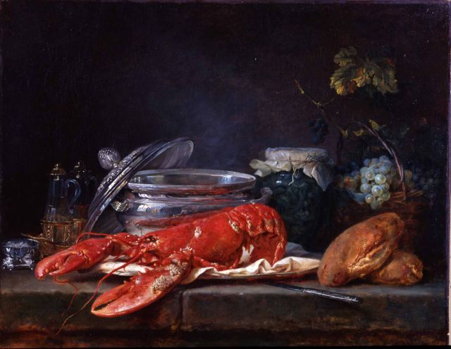 Anne Vallayer-Coster, Still Life with Lobster (ca. 1781)   (image - WikiArt)