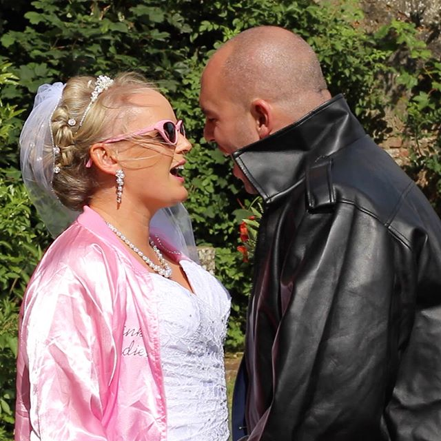 You are the one I want....... Steve and Jane belt out the Grease megamix and even dress the part for their Marryoke at the gorgeous Battle abbey. #marryoke #weddinginspiration #weddingmarryoke #greasemarryoke #movingmediafilms #pinkladies #tbirds #youaretheoneiwant #battleabbey