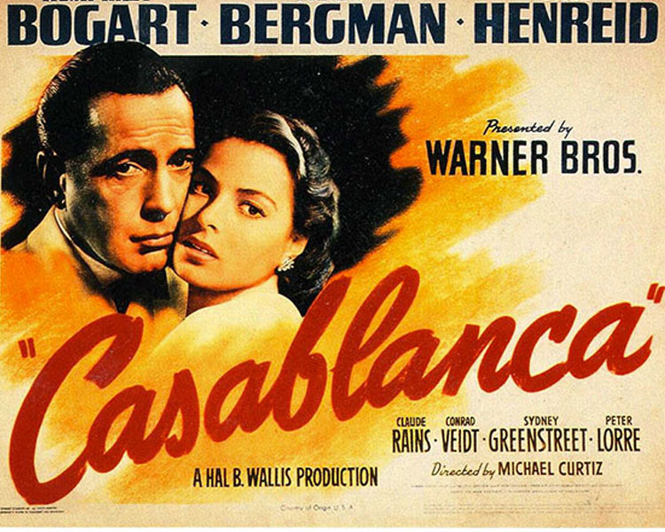 Casablanca - The story of Rick Blaine, a cynical world-weary ex-patriate who runs a nightclub in Casablanca, Morocco during the early stages of WWII. Despite the pressure he constantly receives from the local authorities, Rick's cafe has become a kind of haven for refugees seeking to obtain illicit letters that will help them escape to America. But when Ilsa, a former lover of Rick's, and her husband, show up to his cafe one day, Rick faces a tough challenge which will bring up unforeseen complications, heartbreak and ultimately an excruciating decision to make.Rated PG for mild violenceSaturday, July 22 (invitation only)
