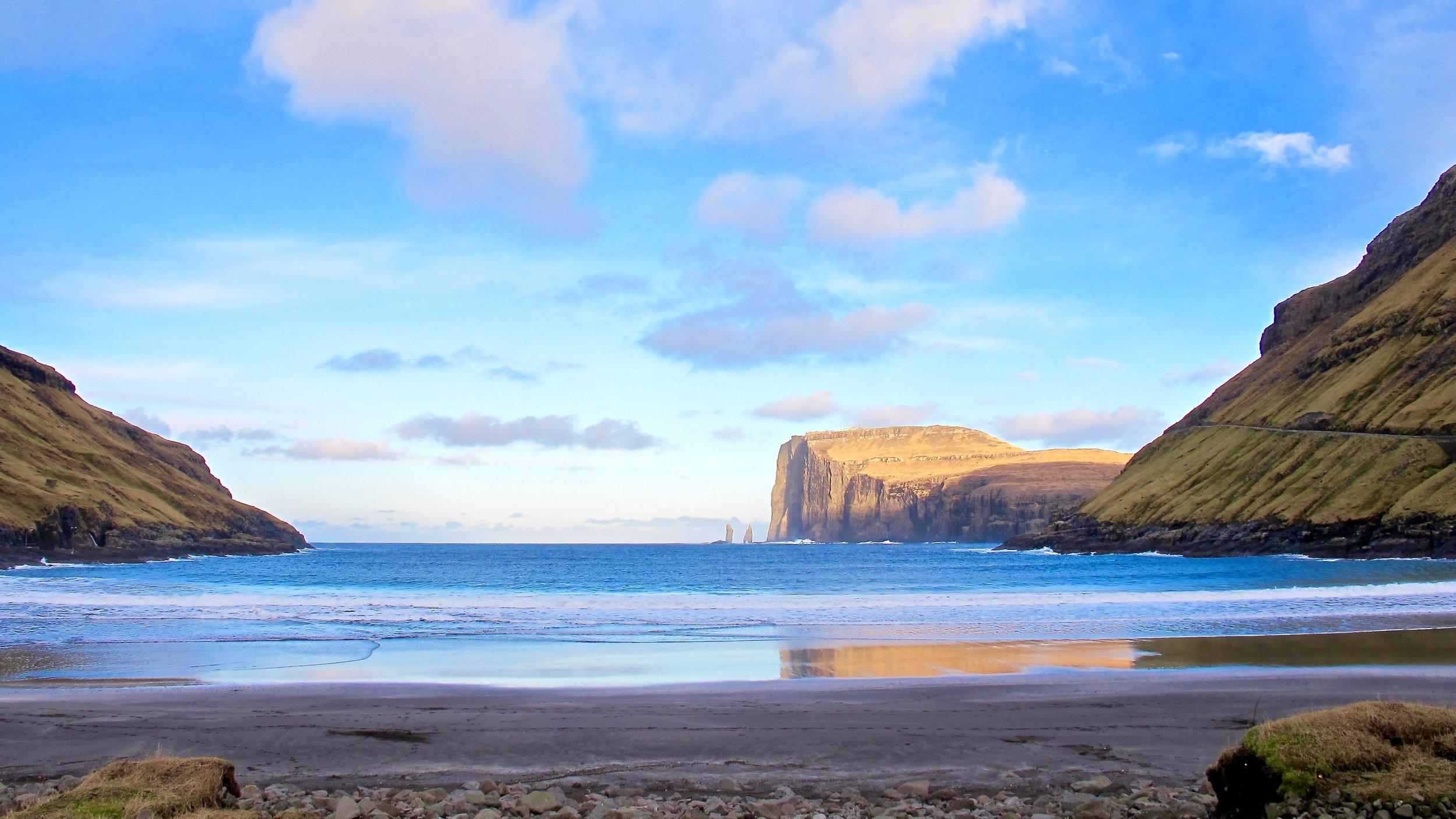 Tjørnuvík Beach View, Streymoy, with the two petrified secret agents on the horizon