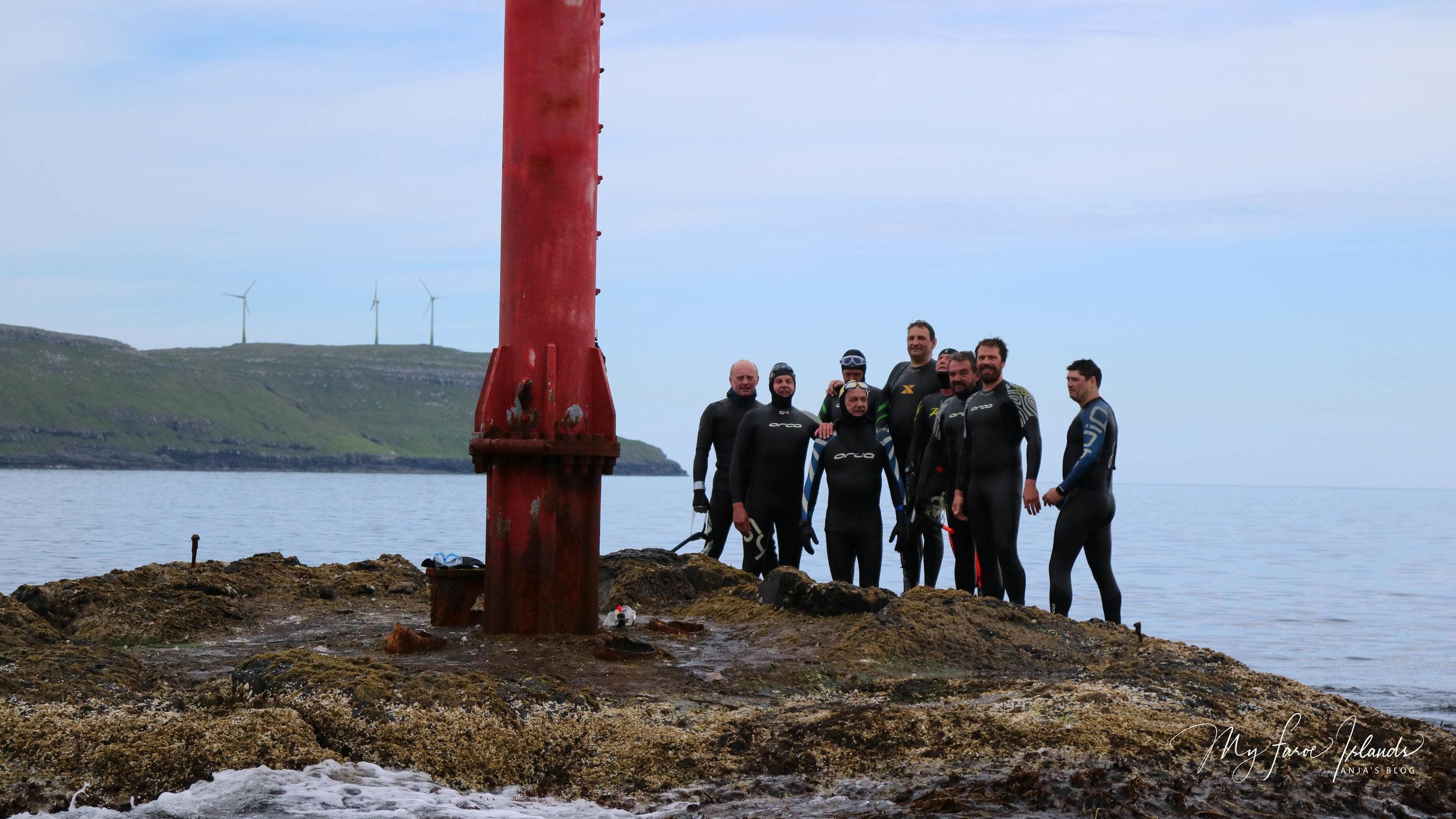 The Magnificent Nine: Erlendur Simonsen (left), Eyðun Húsgarð, Sámal Olsen, Leivur Michelsen, Jon Hestoy, Eyðun Bærentsen, Jákup Enni, Erling Eidesgaard and Remi Lamhauge