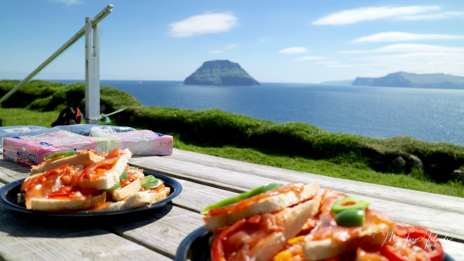 Having freshly made sandwiches, overlooking Lítla Dímun. A truly unique experience
