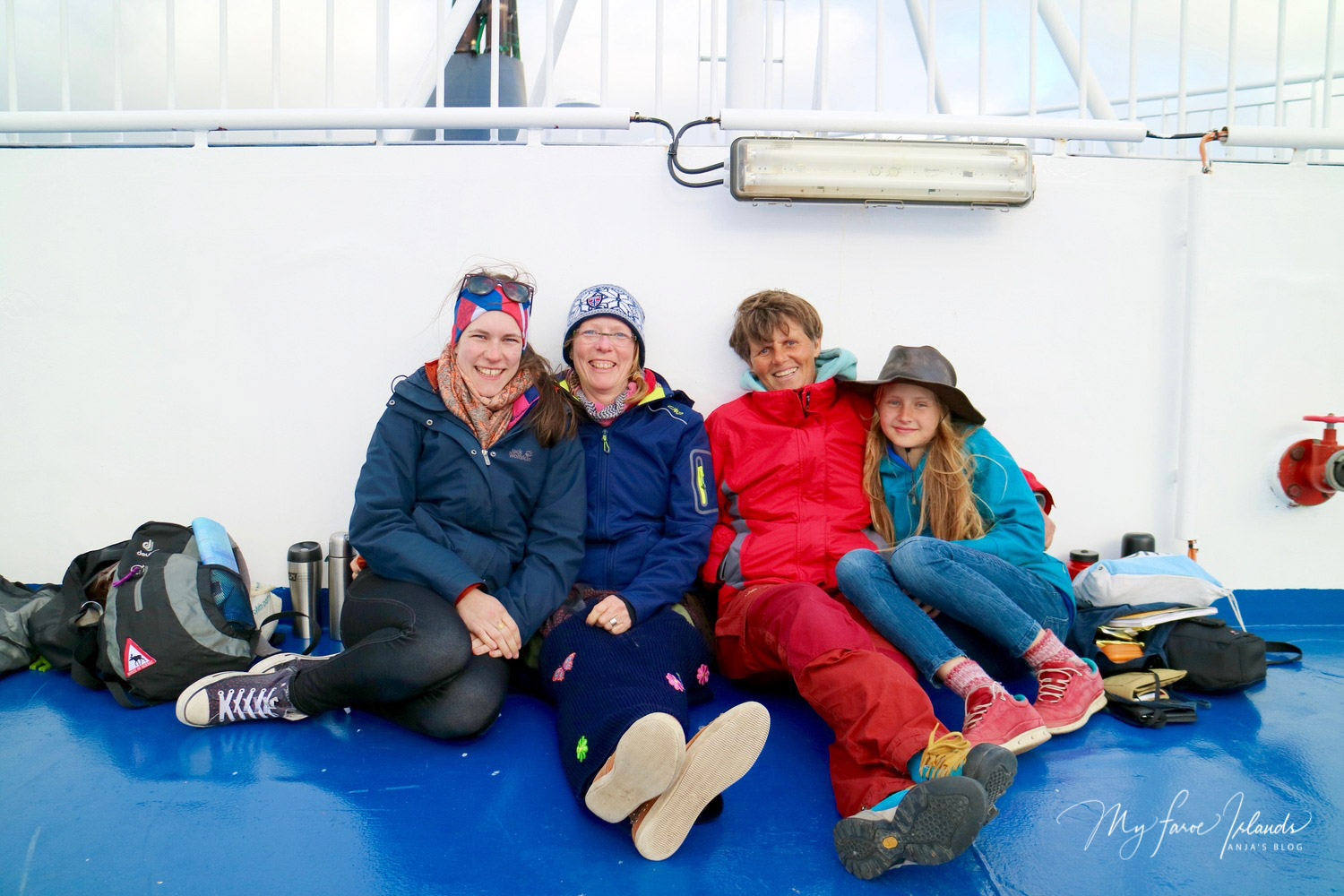 From left to right: Henriette (23), Christina (50), Nicola (52) and Jette (12). Picture below: Arriving in the Faroese capital Tórshavn. Within sight: the historic district Tinganes
