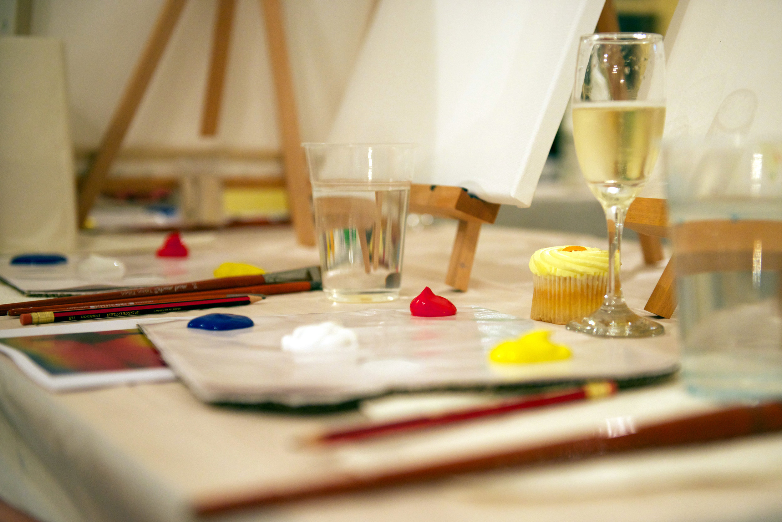 Cabernet & Canvas Social Painting Class set up