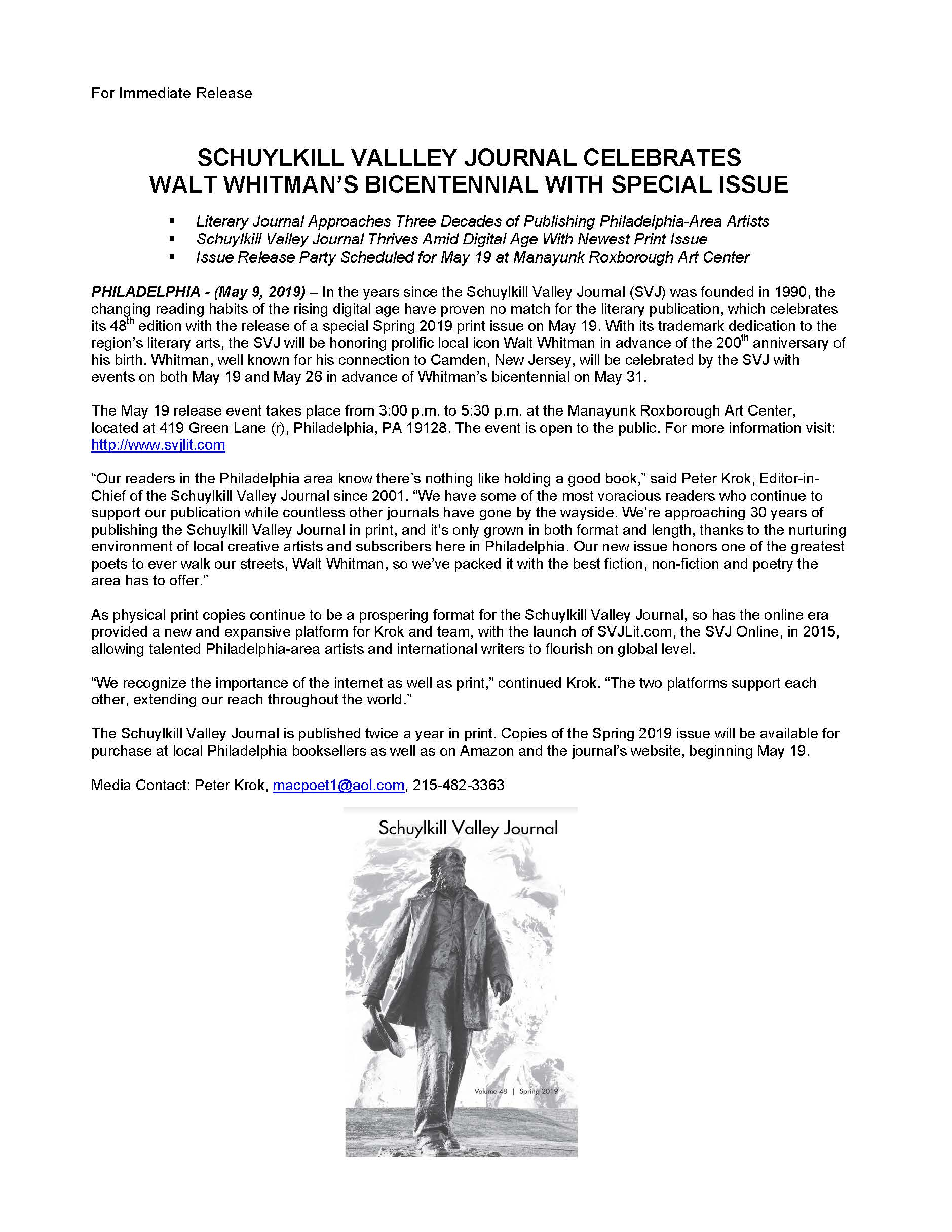 SCHUYLKILL VALLLEY JOURNAL CELEBRATES WALT WHITMANS BICENTENNIAL WITH SPECIAL ISSUE.jpg