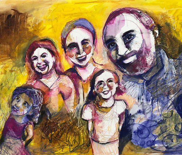 Decided it was time for a family portrait. #love #family #unity #color #artistsoninstagram #carandache #watercolor #art