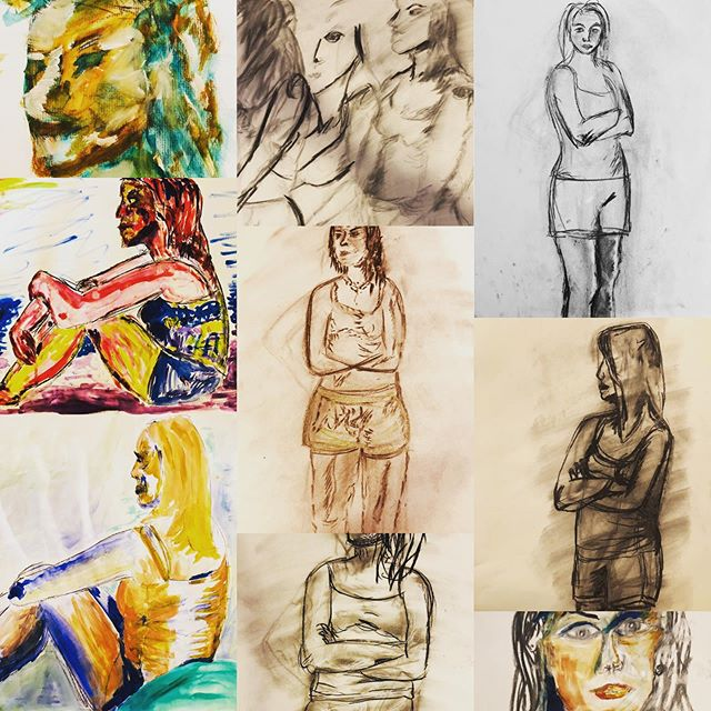 Gorgeous work by experimental artists at the first kick off of Figure Drawing Summer !!! @hannahdreyfus @sylphinthecity @hannahlouise141 @alyon4a @elishevs.m #figuredrawing #class #experiment #letloose #letgoandletgod #colors #charcoal #strength
