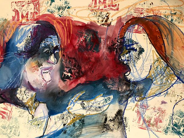 """""""Emet""""Two Jewish women arguing over the Torah portion . Not finished. #truth #manytruths #70faces #beauty #color #artistsoninstagram"""