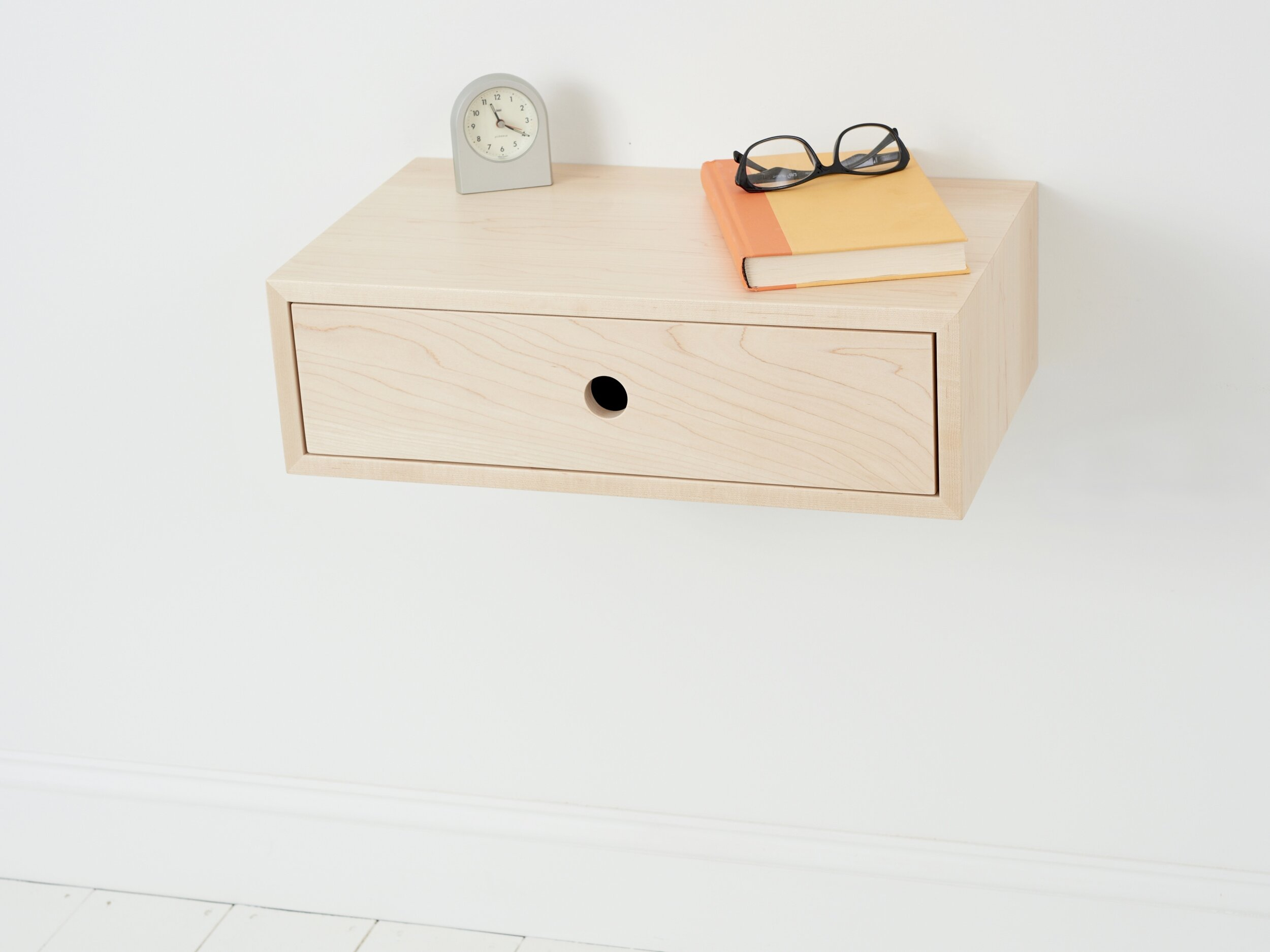 Floating Nightstand In Solid Maple With Drawer Krovel Furniture Co