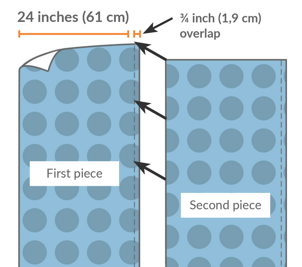 Apply it so that the new roll overlaps the edge of the previous roll by approximately ¾ inch (1,9 cm), carefully visually matching the repeat. There is no need to trim the overlap; it guarantees that the wallpaper will repeat seamlessly. Repeat this step, aligning each new roll over the previous one.
