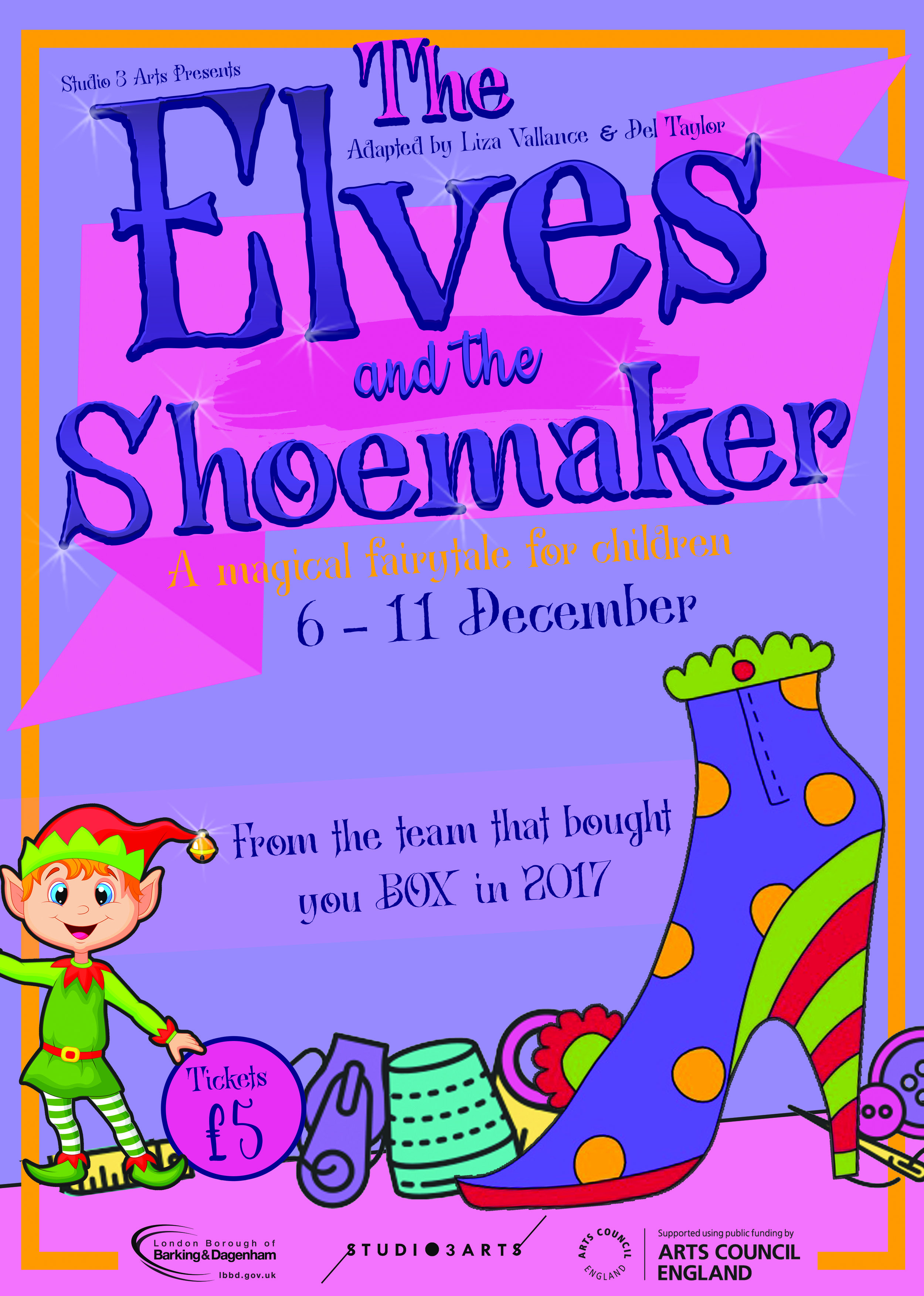 """The Elves and The Shoemaker. - Directed by Liza VallanceDesign Del Taylor Starring Tom mangan and Maria Omakinwa""""We went to see The Elves and the Shoemaker yesterday at Studio 3 Arts and what a fantastic time we had. the actors are just brilliant, funny and so energetic. Our daughter and all the kids there were enjoying themselves so much, shouting in all the right places, totally in awe of the magic of the show!!! And I think we enjoyed it as much as the kids. Five stars. well done to all those involved!! A real treat."""" Carole Spike-Robertson""""Studio 3 Arts do amazing things!! I have seen lots of live streams on various S3A projects to date. However, this weekend I was lucky enough to get tickets to the 'Elves and the Shoemaker' for my family. It was so well done. An old story brought in to the 21st century, with something for everyone. It was an absolute hoot. Loved the set - simple but clever and really effective. It was the perfect length, keeping the young audience engaged throughout. The actors were fantastic and the production was super slick. I highly recommend!!! Shall be back if there's another one next year!!""""Sliz Gillard""""As ever another brilliant event at Studio 3 Arts, a brilliant place, with a brilliant play with a wonderful message. So wonderful to see the look of amazement on the faces of the audience - young and old. Such a skill and talent from two young actors to whip the crowd into a frenzy and then quickly flip the action and atmosphere. Fab clowning and fun without being patronizing plus beautiful shoeeeeees. The set was wonderful and i particularly loved the big plates of food!!""""Melissa Lowndes"""