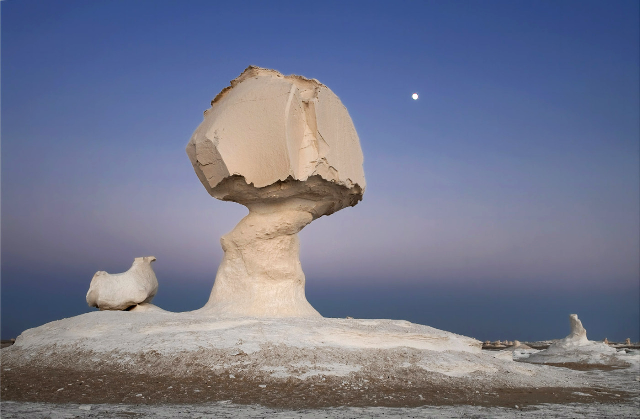 Blue Hour at Big Mushroom, White Desert, Egypt, Dominik Orth, RACHEL MOSLER DOUBLE OR NOTHING