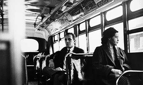 Rosa Parks in the Montgomery Bus Boycott, 1955.