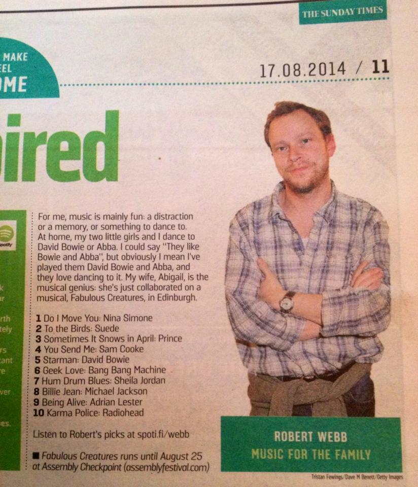 A feature with Robert Webb in The Sunday Times mentioning Fabulous Creatures