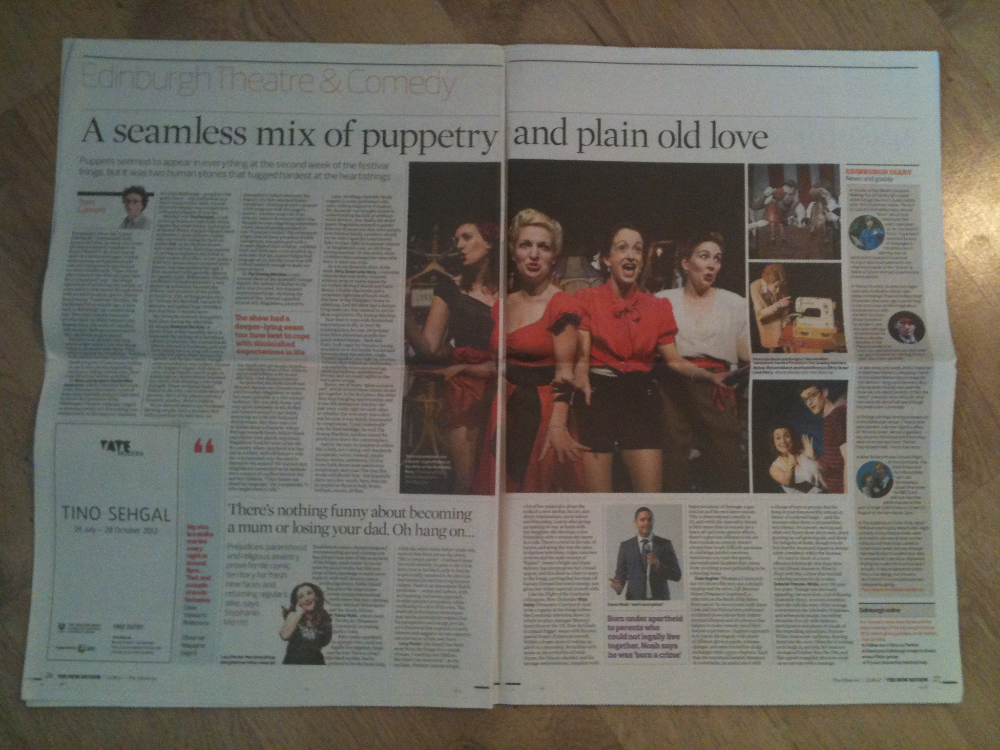 Across a double page spread in The Observer 2012