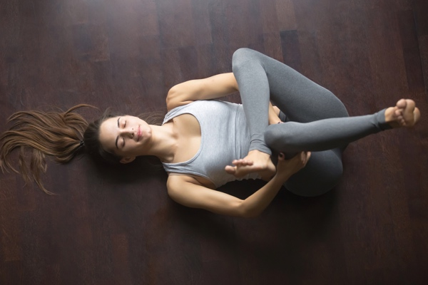 yoga for sciatica - reclining pigeon