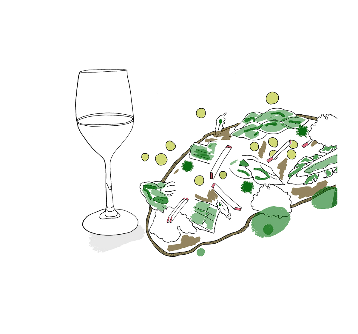 ancerre Wine With Spring Vegetable and Goat Cheese Toast