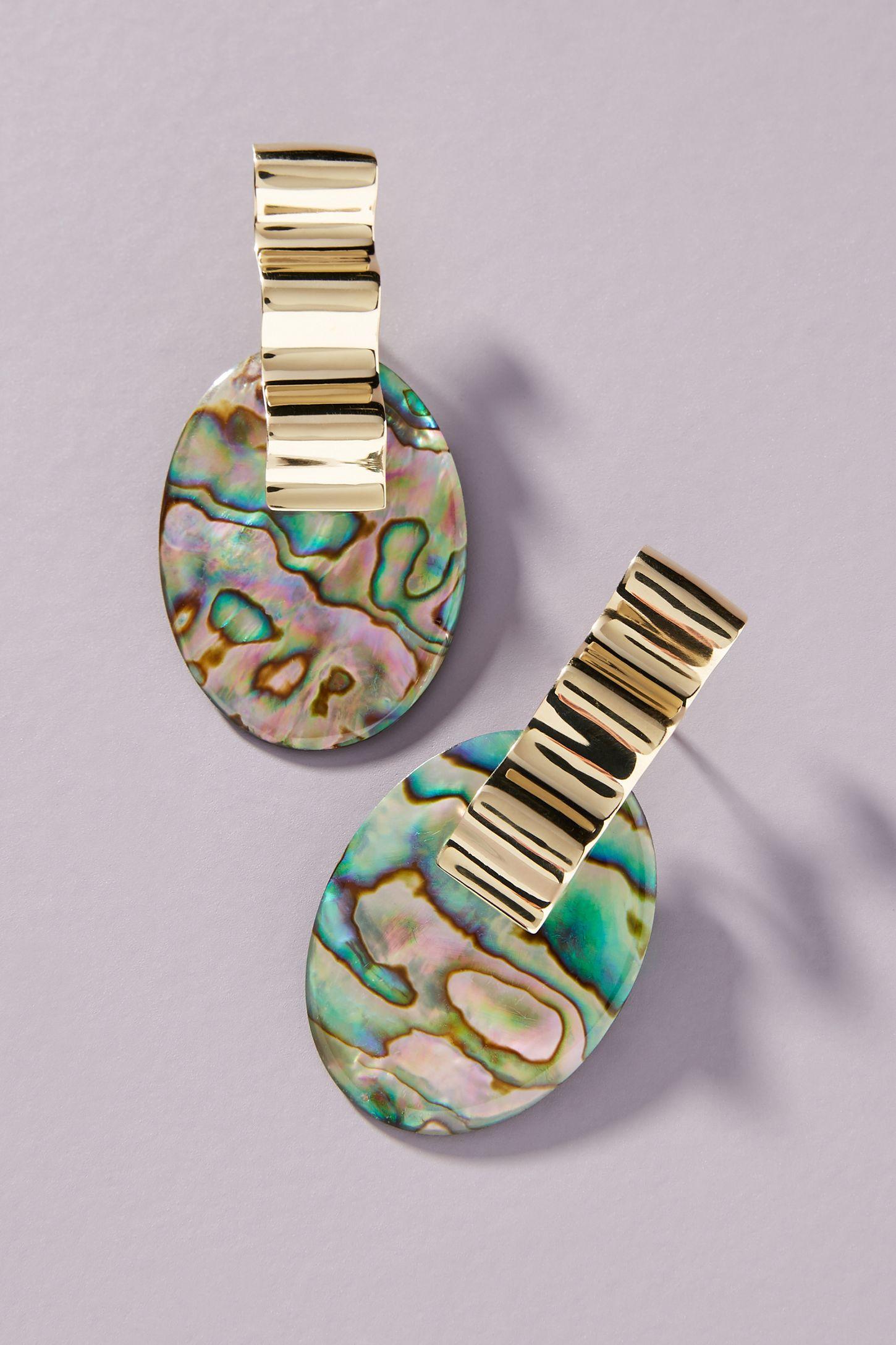 Abalone Drop Earrings, $248, Anthropologie