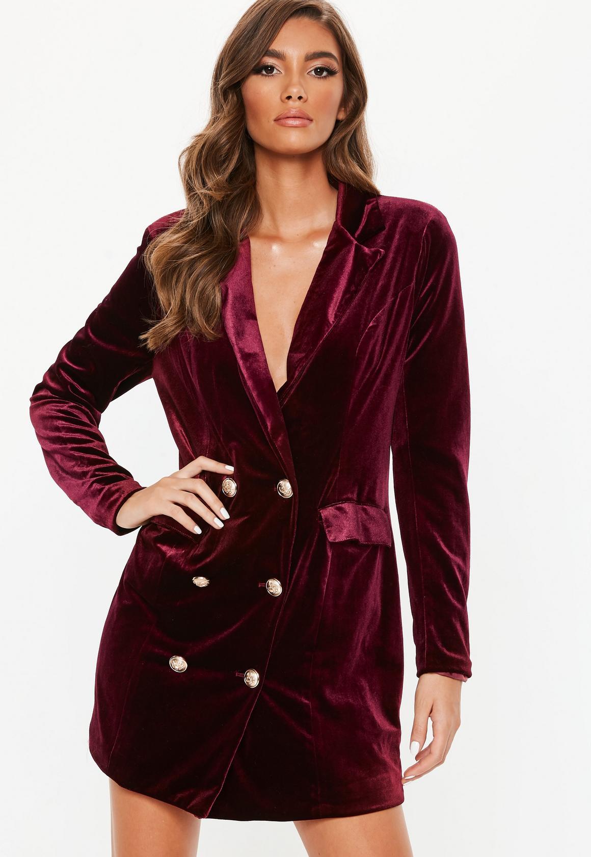 Burgundy Velvet Blazer, $25, Missguided
