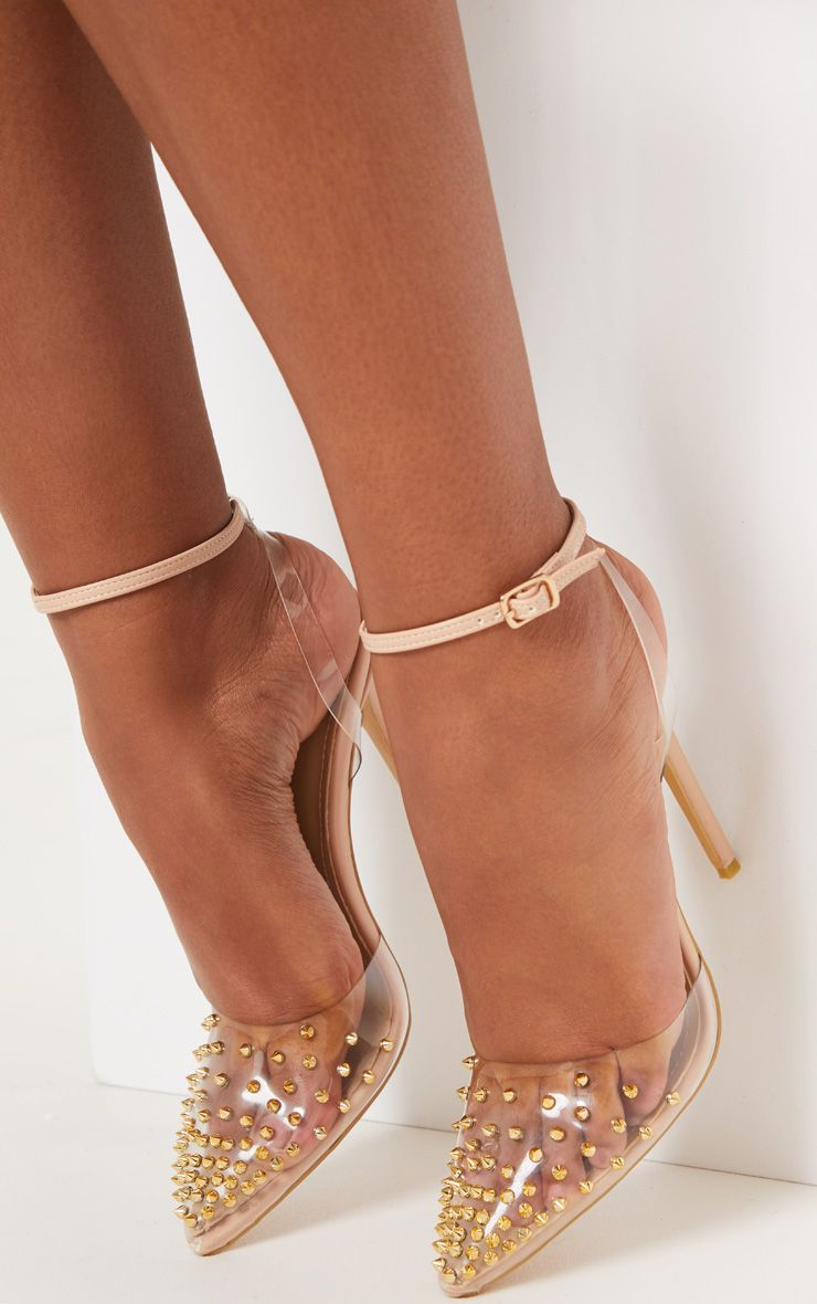 Nude Studded Heels, $62, PrettyLittleThing