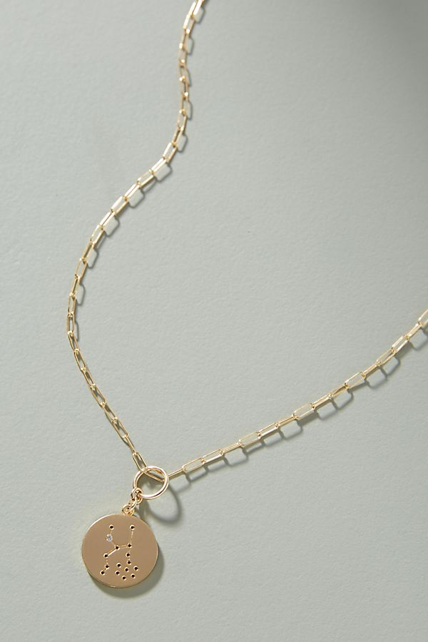 14K Gold Zodiac Charm Necklace, $188, Anthropologie