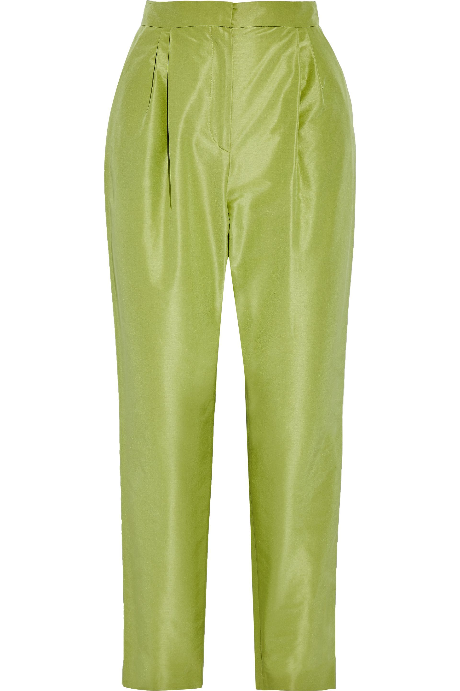 Lime Green Silk Pleated Pants, $232, The Outnet
