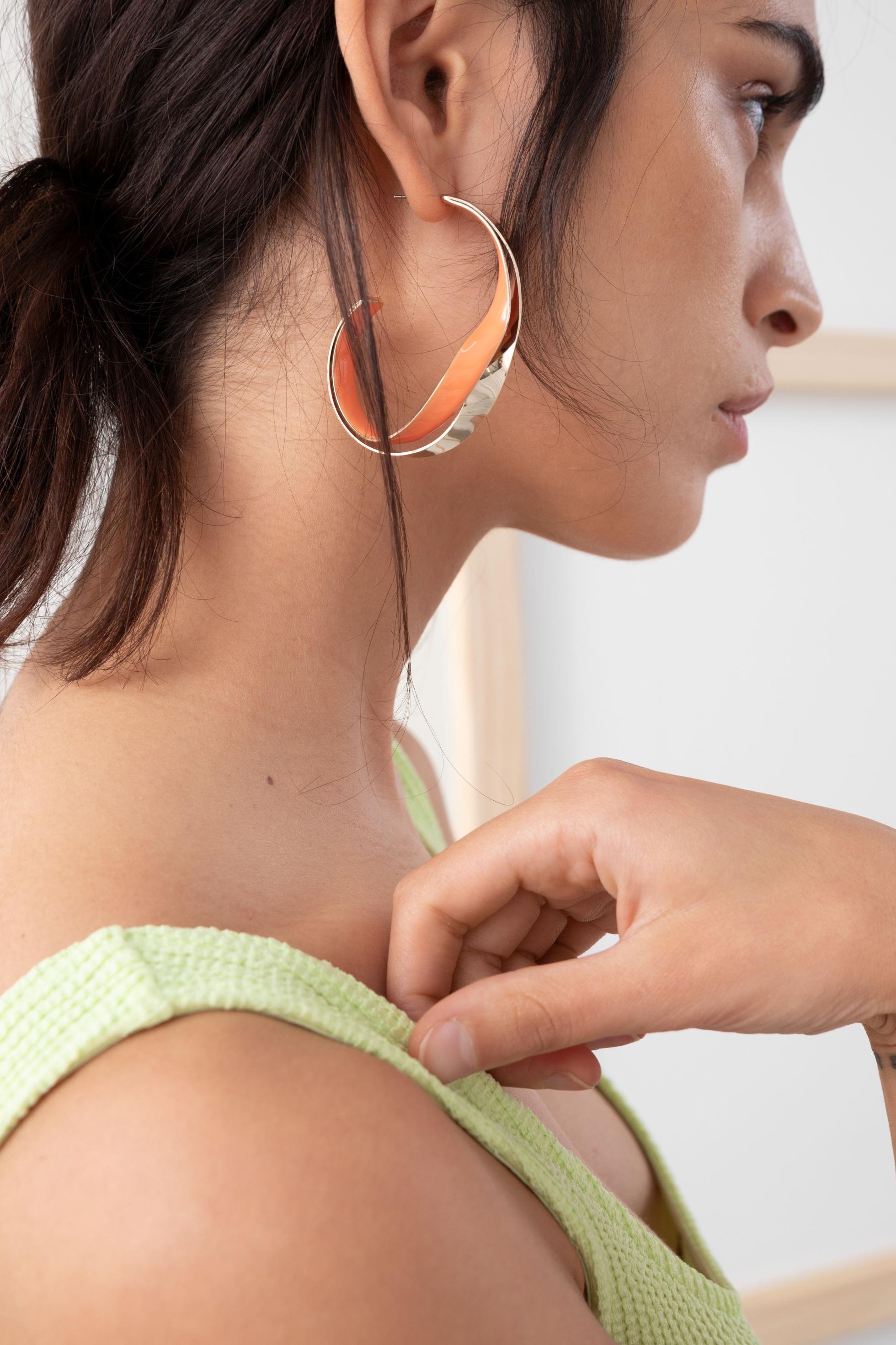 Duo Color Hoop Earrings, $29, & Other Stories