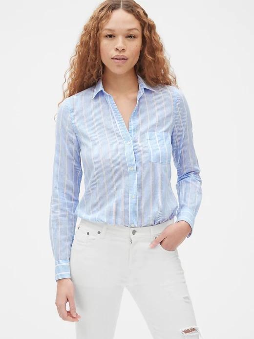 Blue Striped Boyfriend Shirt, $50, Gap