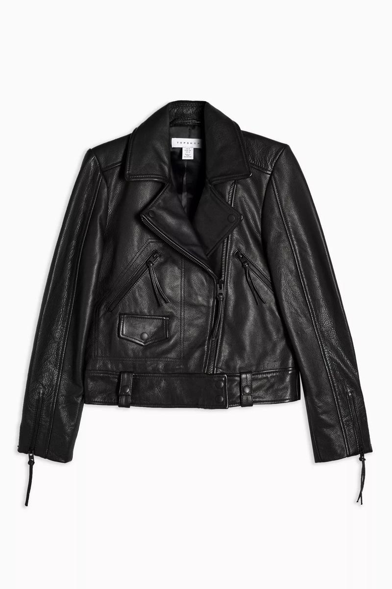 Leather Biker Jacket, $320, Topshop