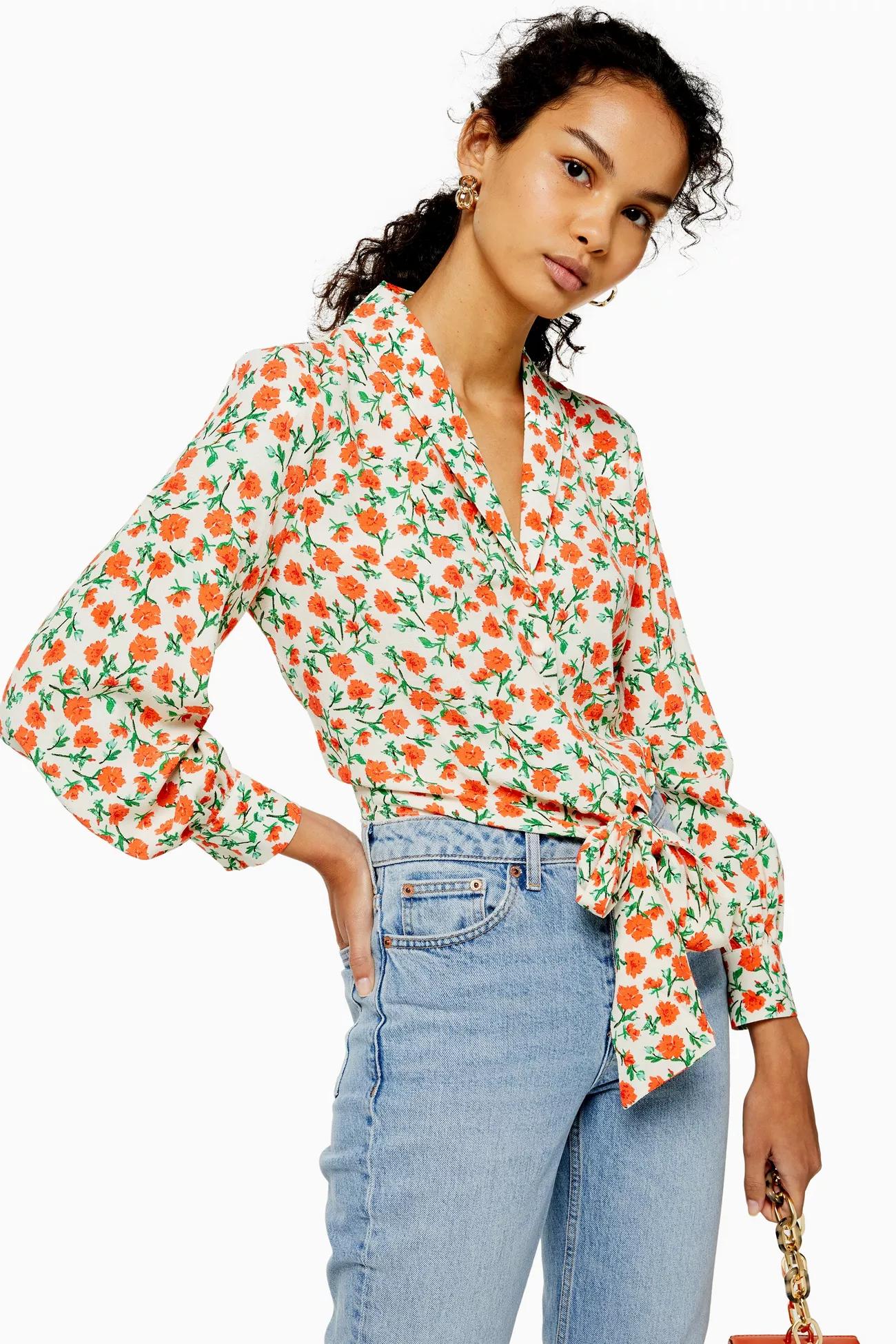 Floral Knot Tie Shirt, $55, Topshop