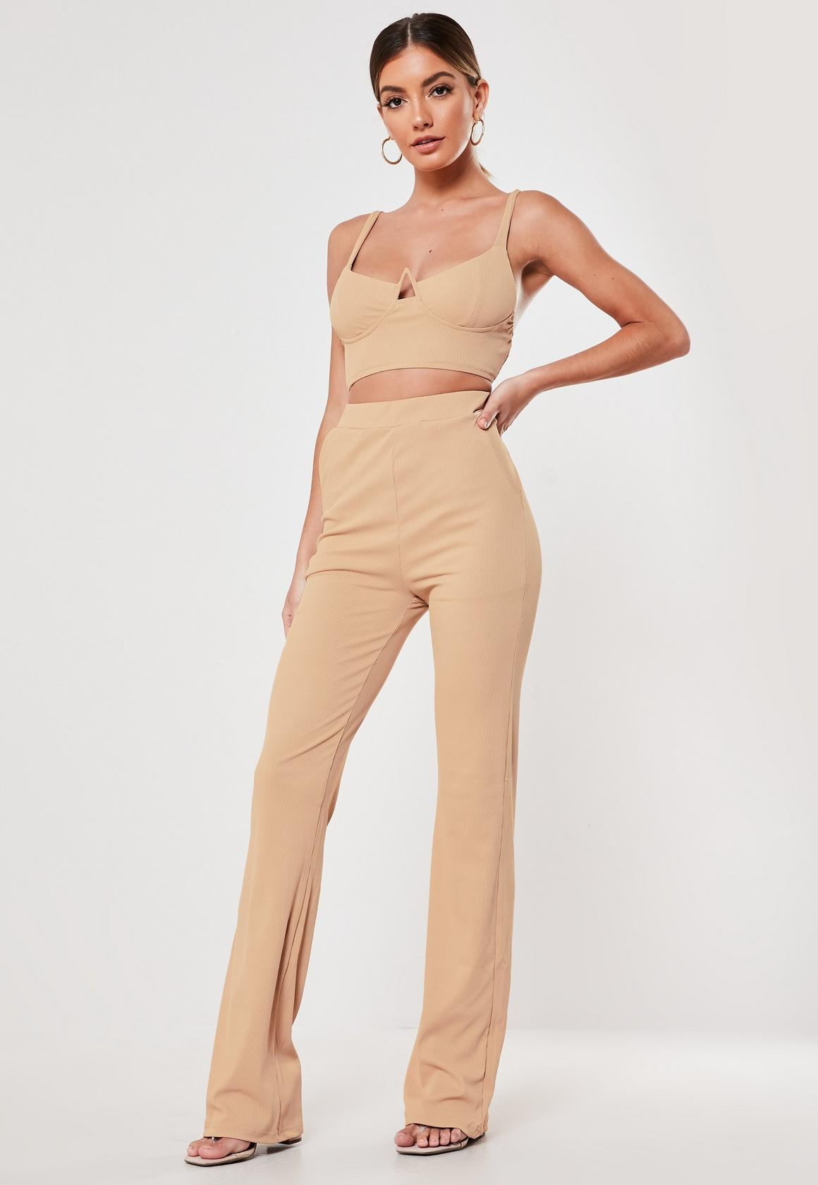 Brown Wide Leg Trousers, $37, Missguided