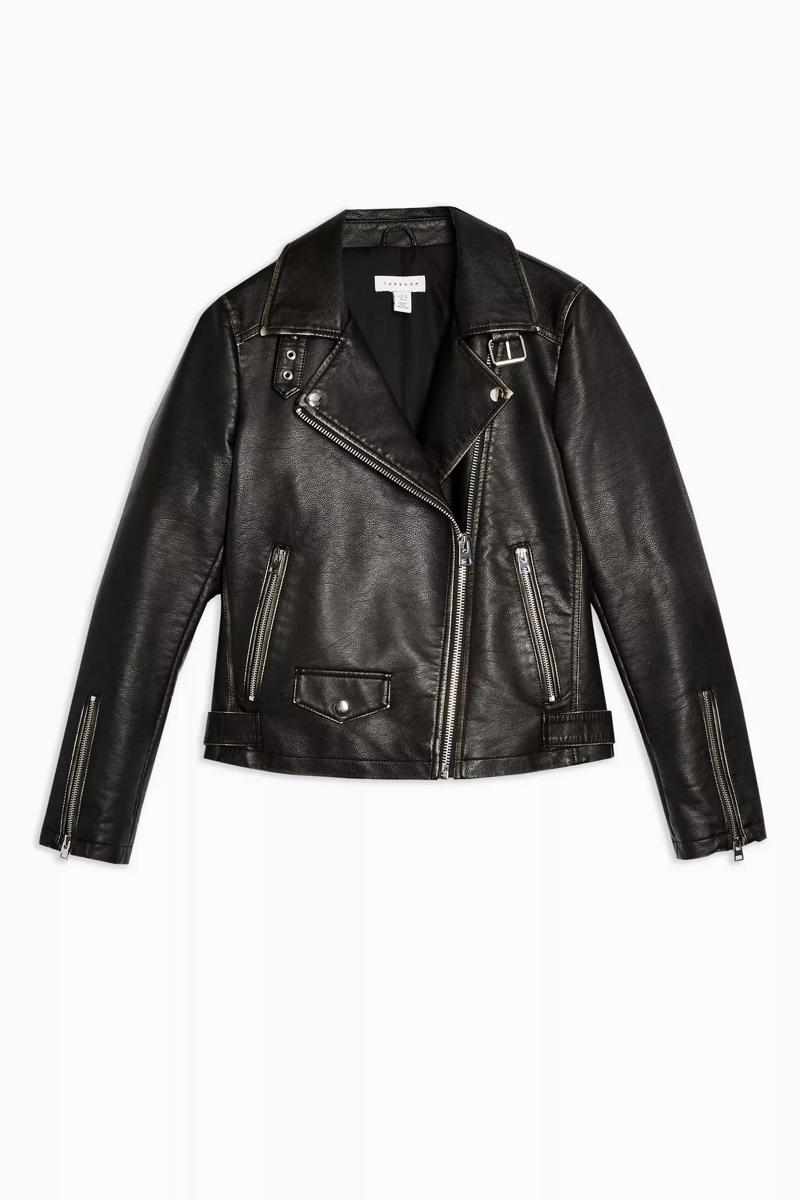 Black Vegan Leather Biker Jacket, $95, Topshop